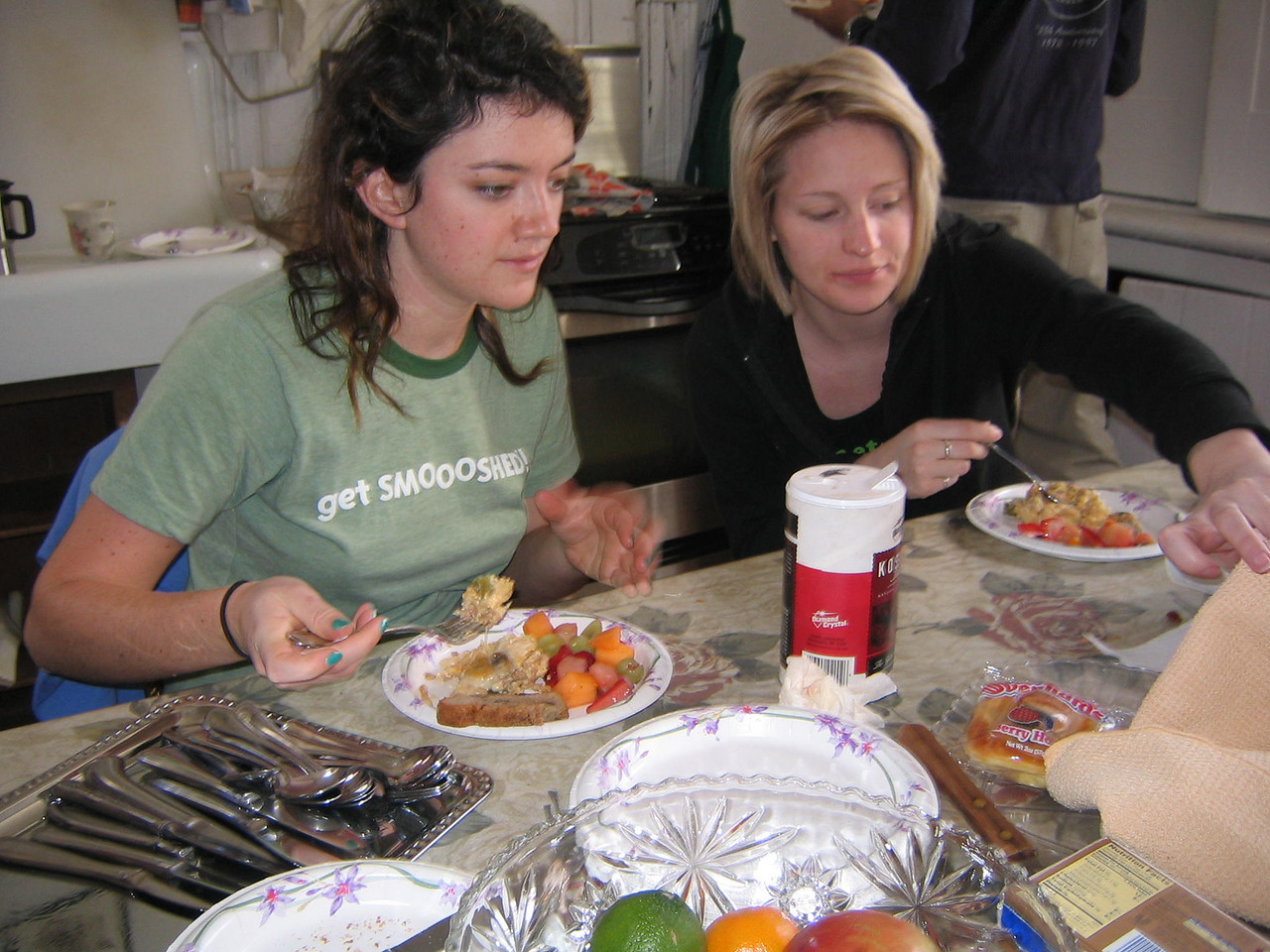 THE MORNING AFTER -- Maria and Aliceann reach for the protein.