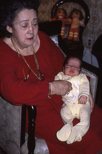 Mom with one of Mary's babies at Margaret's house.