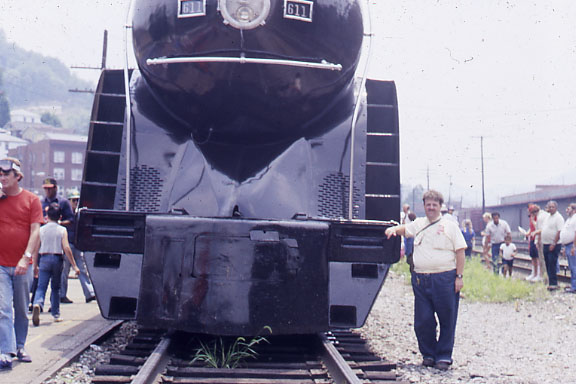 Bill with Norfolk Southern steam locomotive number 611 in Virginia
