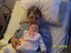 We went to visit Aunt Sue in the hospital.  She liked holding Claire.