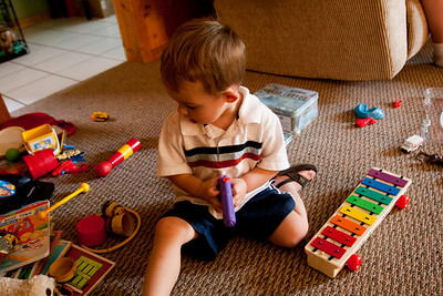 Hunter plays with some toys during a visit to Oak Forest, Illinois on Octboer 17, 2010.  (Jay Grabiec)