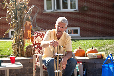 Hanging out in the yard with the family during a visit to Oak Forest, Illinois on Octboer 17, 2010.