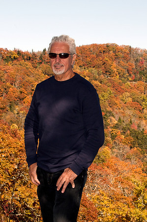 Pat with fall colors on the Blue Ridge Parkway