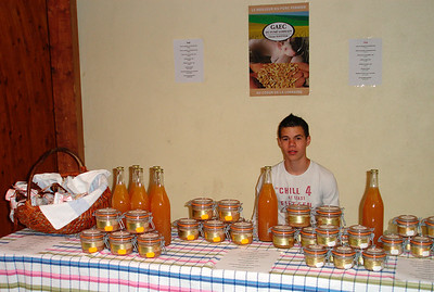 Camille selling food specialties (mirabelle, pate...) in Vigneulles (2007)