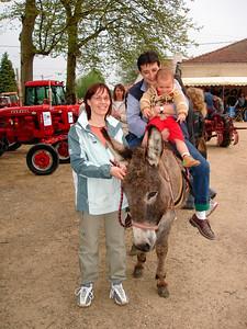 My sister Veronique guiding a donkey (Fete des tracteurs in Vigneulles: 2007)