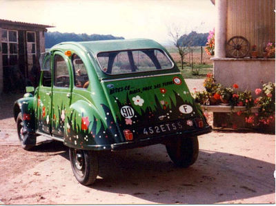My first car: Citroen 2CV (say it...but with flowers)