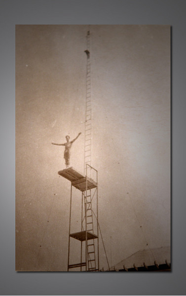 My cousin Joey Janney  on the thirty foot platform.  The pool was only nine or ten feet deep.  We all worked at the Aqua Circus as kids at the Jersey shore in the summer..............................