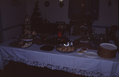 Dining room table--Christmas Eve '83 (notice Dad's shrimp tree)