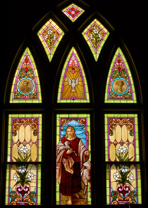 Methodist church stained glass window