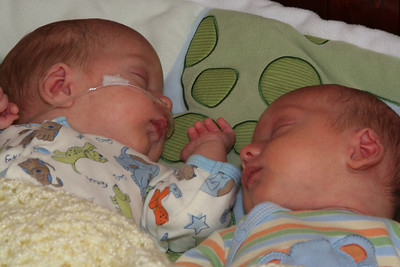 Hanging out in the crib together - Ben is on the left.