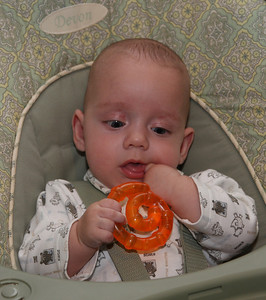 Benny playing with his new teething ring!