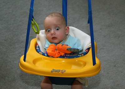 Adam gets his turn in the bouncy chair.  He figured out right away how to bounce and move himself around.  It was so cute watching him.