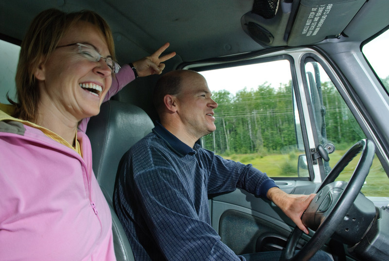 En route to Yellowknife to pick up Judy's belongings. Driving a rented 24' moving van.