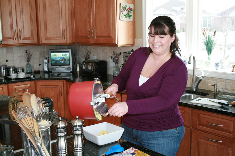 Melinda cooking popcorn