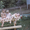 Playing in the backyard at 19 Nash St with cousin Lisa in 1964