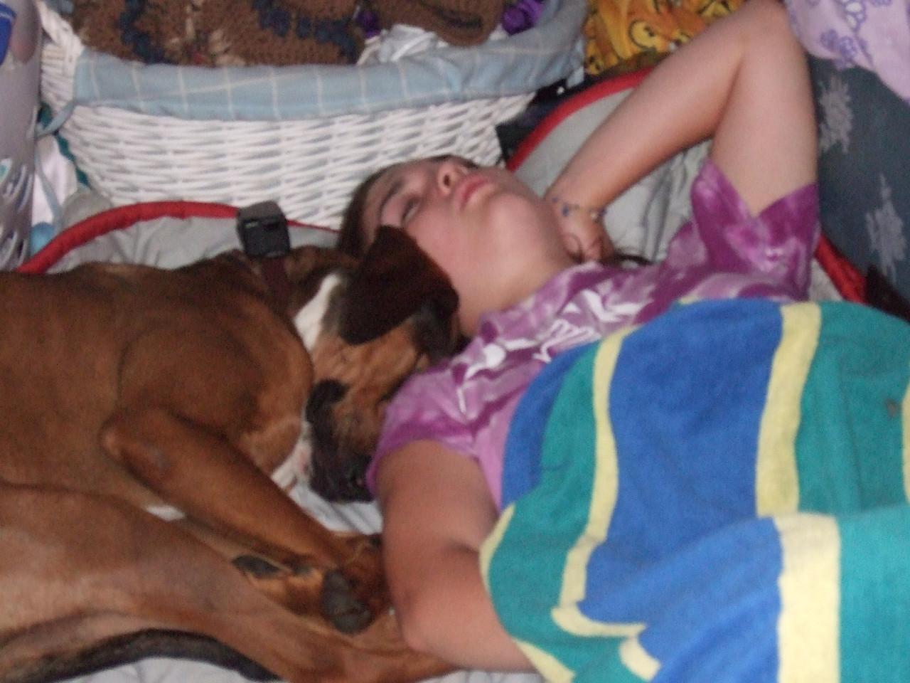 DSCF9403 Tucker dog and Kristin sleeping by Maggie