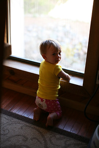 Annelise looking out the window.
