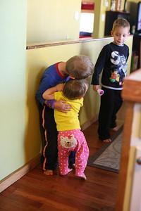 Annelise hugging Adam.