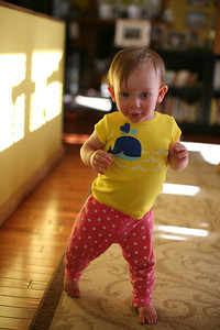 Annelise is learning to walk!  A few of her first steps.