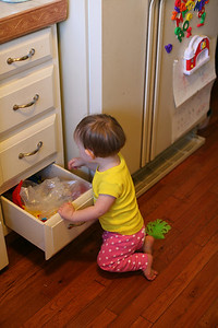 Annelise playing in her favorite drawer.
