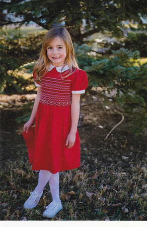 2017-11 Vivian Smocked red dress