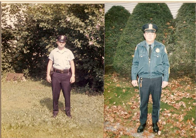 DPB-309: William (Bill) Patterson on first day on the job  as a police officer 5th July 1960 and on his last over twenty years later at 320 West Main St. Boonton, New Jersey, USA