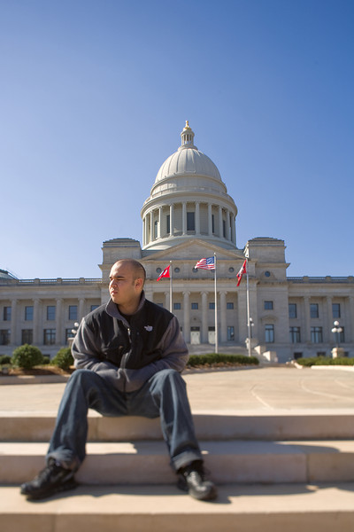 Jacob on the steps of the Arkansas Capital - Little Rock - 13 Feb 2008
