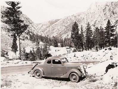 5 - harold and carrie  35 ford at sonora pass 1936