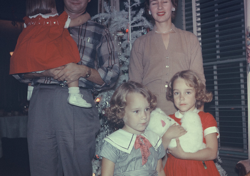 Christmas 1956. Dave & Shirley Whiteman, with Judy, Diane, & Elaine