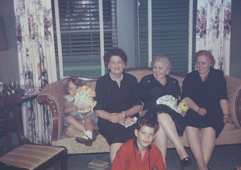 Christmas 1956.Diane, Pearl, Lulu, Mildred, Milton