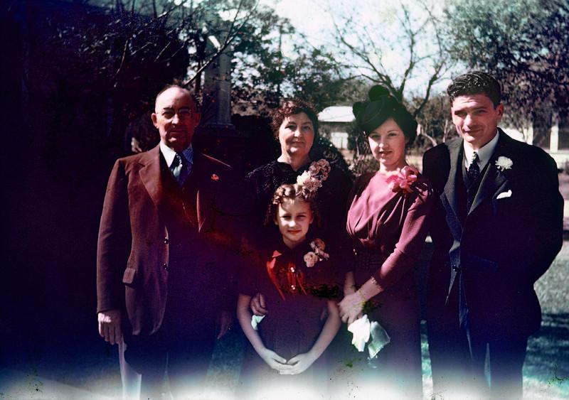 Joe & Pearl Bodin, Shirley, Gertrude & Herman. Herman & Gertrude's wedding, Kingsville, 1939