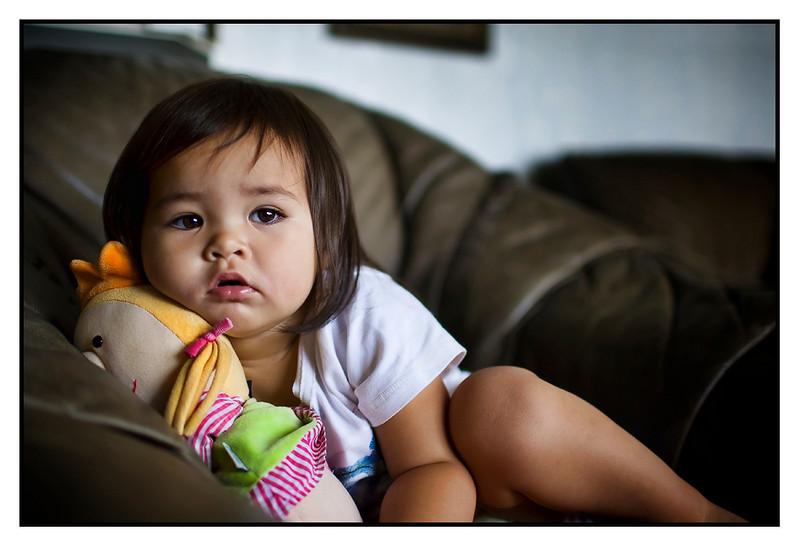 Isabella watching TV