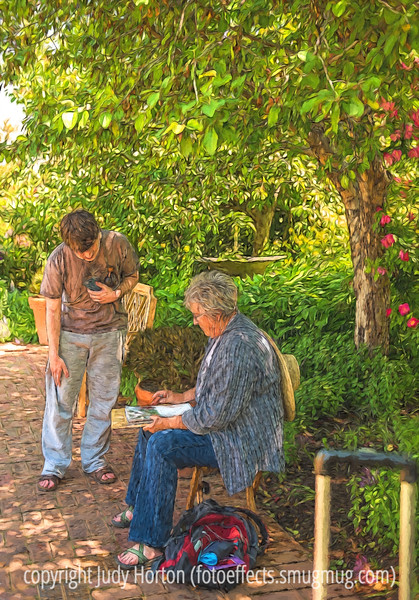 Artist in the Botanic Garden (with Painterly Effects)