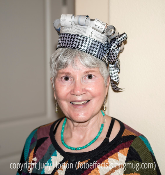 Judy in Her New Year's Eve Hat Creation