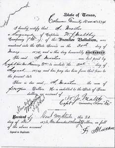 "ANDREW MATHER'S HONORABLE DISCHARGE - 1874 Andrew Mather's discharge papers from the Texas Rangers Company ""E"" of the Frontier Battalion, commanded by Capt Jeff Maltby. His tour of duty is listed here as May 30, 1874 to August 31, 1874, but he was actually in for six months. See the next page."