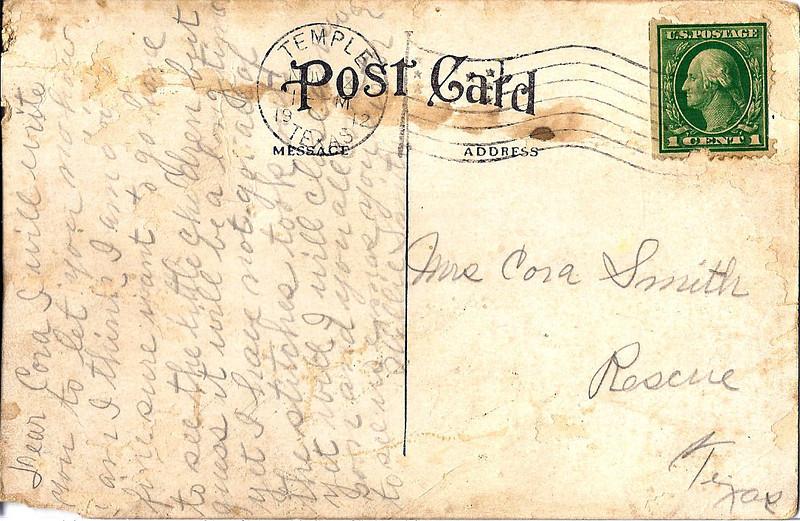 1912 Temple Sanitarium postcard text - To Cora Smith from Willie Smith