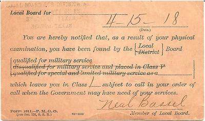 1918 - 4-15 Carl Duncan's War Dept  Health Notice 02