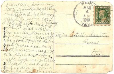 1910 - Birthday Post Card from Stella's namesake Grandma (back)