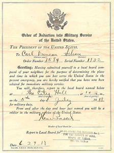 1918 - Induction Orders for Carl Wilson Duncan