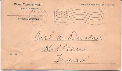1918 - 4-15 Carl Duncan's War Dept  Health Notice 01
