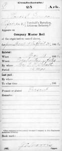 1862 - Thomas J  Duncan's CSA muster card (Turnbull's Battalion Arkansas Infantry, Co F)