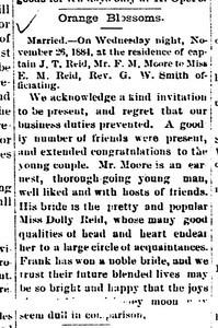 1884 article - Marriage of Ellender Reid to Frank Morgan Moore -Gonzales Inquirer, November 29, 1884