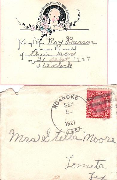 1927 birth announcement - Leroy Barron