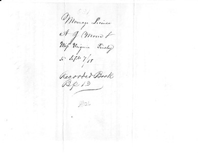 1858 ML - A J  Moore and Virginia Tinsley ML531 Sep 7, 1858 a