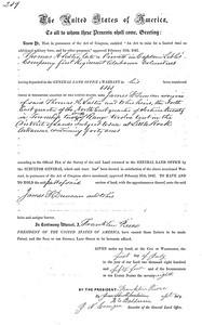 1854 - James F Duncan land grant, July 1, 1854