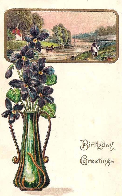 01 Birthday Post Card from Stella's namesake Aunt Clemmie, (front)