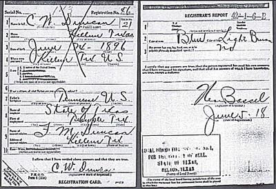 1918 - Carl Wilson Duncan draft card