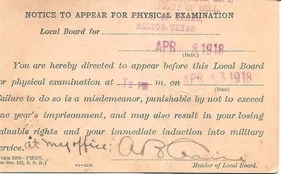 1918 - 4-8 Carl Duncan's War Dept  Health Notice 02