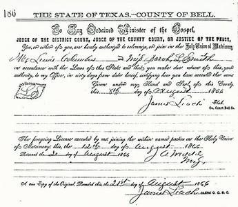 1866 ML - Lewis Columbus and Sarah L Smith