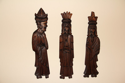 Three Kings wood carving from our family trip to Mexico have been liberated from 40+ years of dirt and grime and have been hung in a place of honor here in Virginia (in my study). They look great, with a new lease on life! I am so glad we still have them and they are still in good shape, because I have always liked them. They are a great compliment to the clay nativity set, also from our Mexico trip.